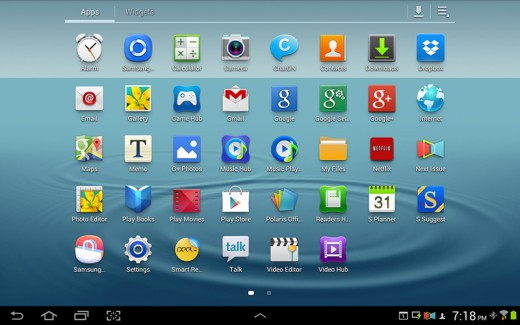All apps on a Galaxy tab - screenshot.