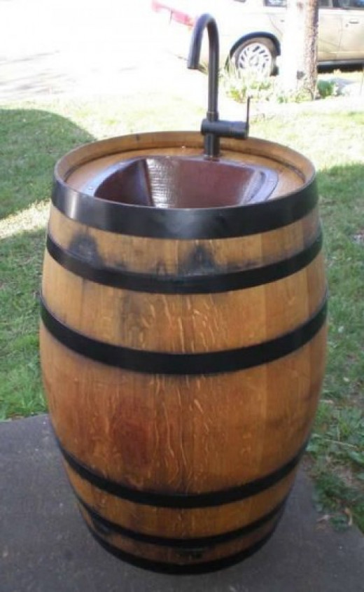 DIY Wine Barrel Sink