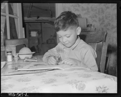 Child Coloring Circa 1946