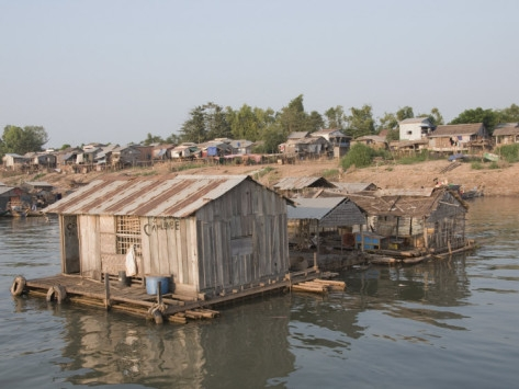 Fishermen's Floating House on the Mekong River, Phnom Penh, Cambodia, Indochina, Southeast Asia