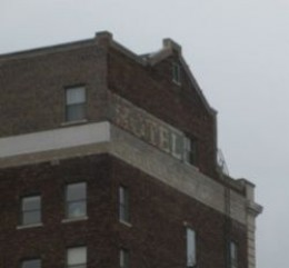 Hotel ghost sign on brick building in Springfield, Illinois.