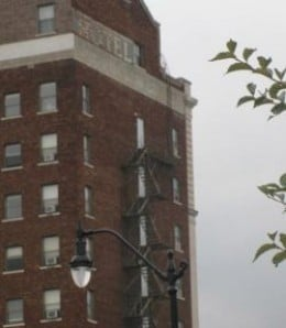 "Ghost sign in Springfield, Illinois on a brick building. Reads ""Hotel"" with something under it I couldn't make out."