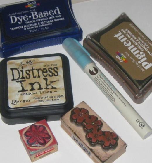 Craft supplies:  rubber stamps, stamp ink, glue