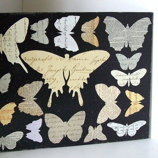 Butterfly collage by Gathered Together, Etsy seller. Links provided below.