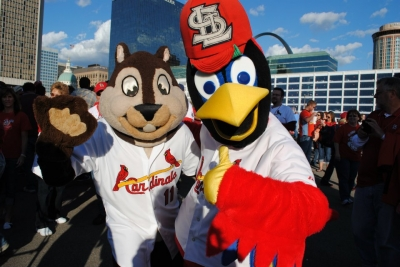 Cardinals Mascots Rally Squirrel & Fredbird