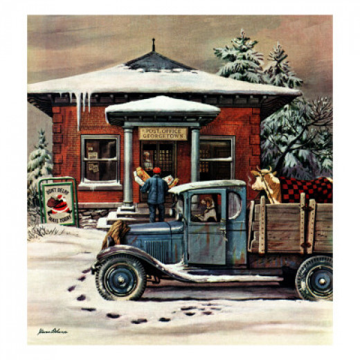 """Rural Post Office at Christmas,"" December 13, 1947 by Stevan Dohanos -available at Allposters.com"