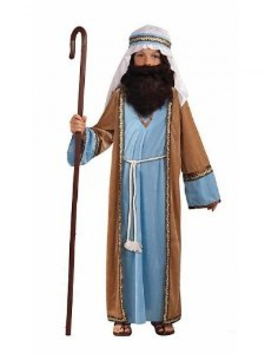 With the addition of a rustic brown coat, the colors for Joseph are often blue and white.