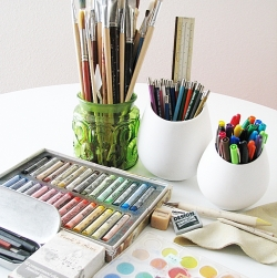 Pastels, brushes, markers... so much to choose from!