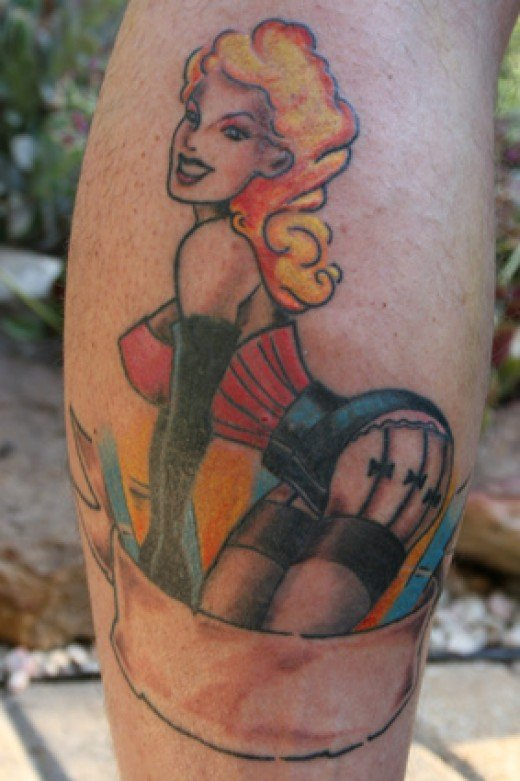 Pinup Girl Tattoo. Pretty Classic and Standard.