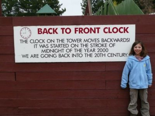We learn about the backwards clock before we enter the building.