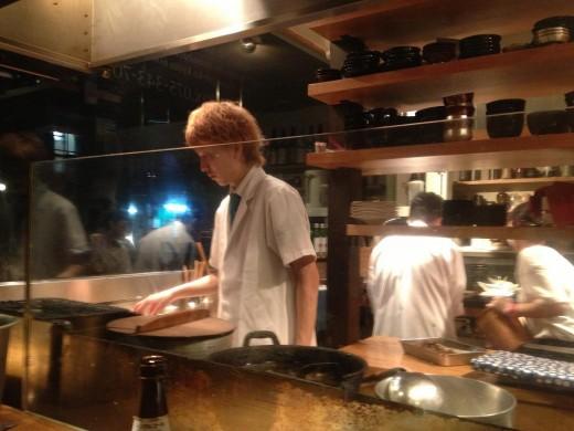 "Kitchen helpers  preparing their ""Kaiseki"" creations."