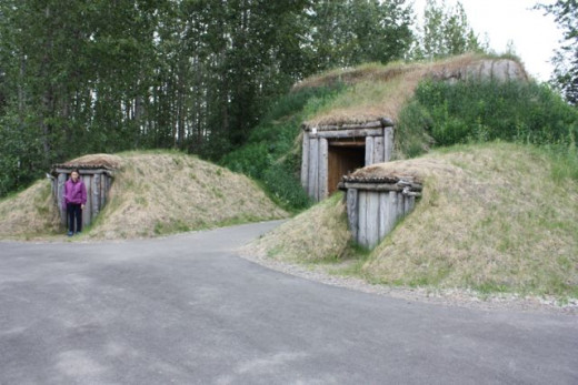 The two entrances to the Yup'ik and Cup'ik clan house. The larger for the men, the smaller for the women.