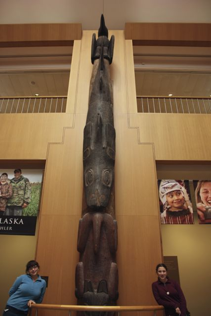 This Tlingit totem pole stood two stories in the museum and was carved in the 1800s