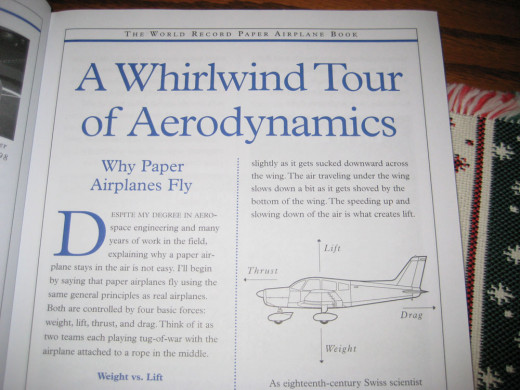 Example section which teaches all about flight and paper airplane aerodynamics.