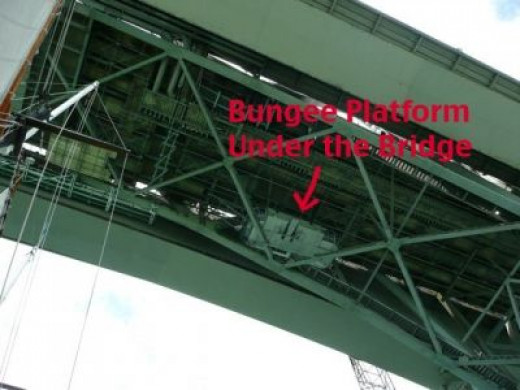 As we passed under the bridge, the first mate pointed out the bungy jumping platform.  Don't worry, they always know when there is a jumper afoot.