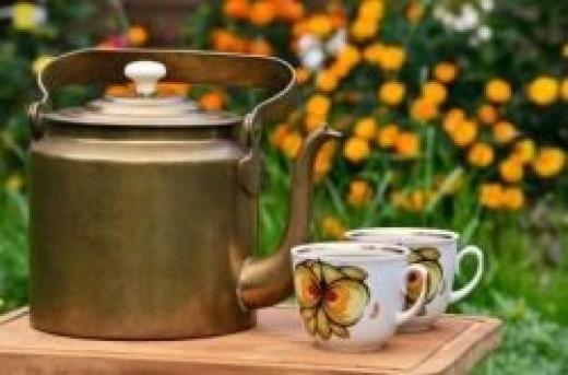 Cup of dandelion tea in the garden