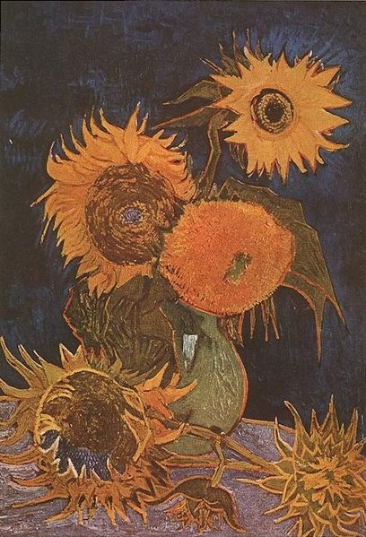 Vase with Five Sunflowers