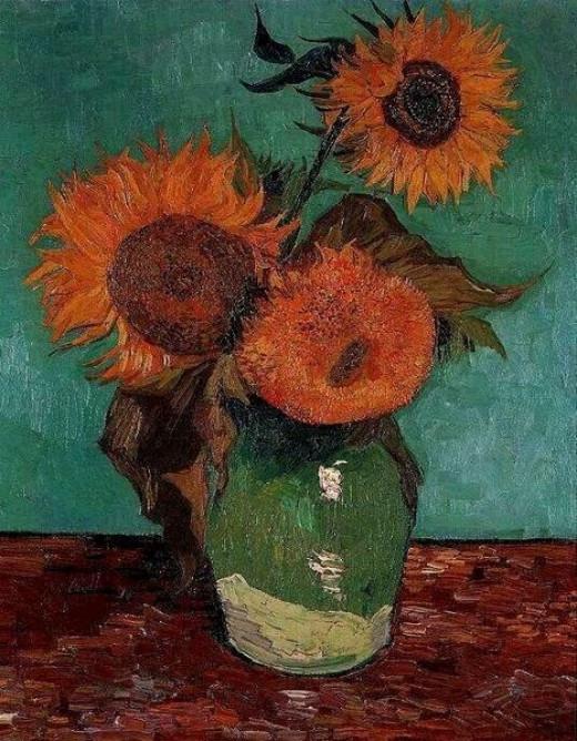 Vase with Three Sunflowers