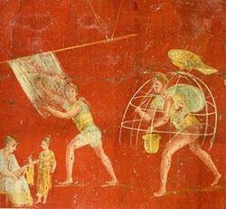 Fresco from the fullonica of Veranius Hypsaeus in Pompeii. Museo Archeologico Nazionale