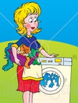 woman with front-load washer