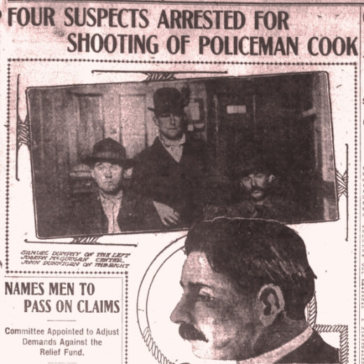 The man in the middle of the top photograph is my relative, Joseph McSwegan.