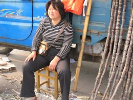 Tired looking street vendor