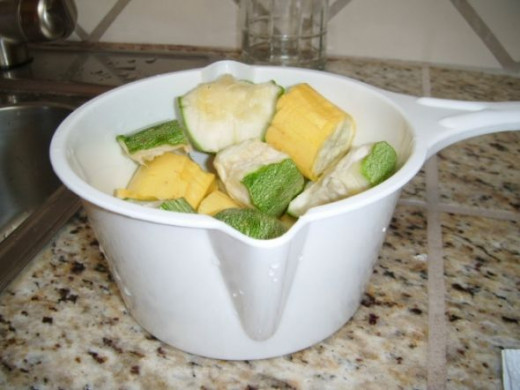 A pot of Summer Squash ready to cook.