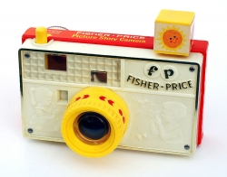 The Fisher Price toy camera.  Remember how the flash cube moved around?