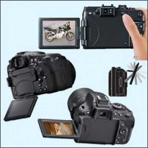 Cameras with variable angle screens