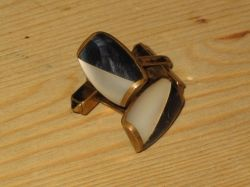 Vintage Mother of pearl and blue marble torpedo-back cufflinks