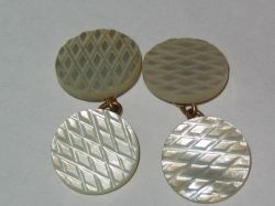 Cross-hatched Mother of Pearl cufflinks
