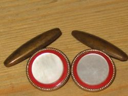 Red celluloid and Mother of Pearl chain-link cufflinks