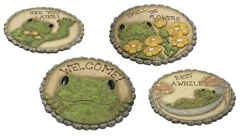 Garden stepping stones with frog design