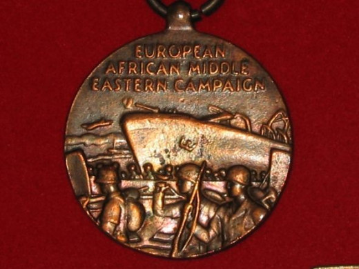 WWII US Europe, Africa and Middle East Campaign Medal - close up of obverse