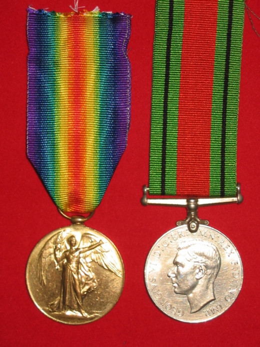 WWI Victory Medal and WWII Defence Medal pair - obverse