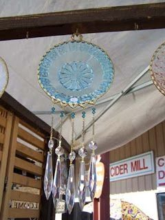 How about this cool idea - plate hanging from the ceiling