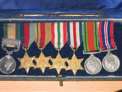 British campaign medals (miniature) - India service and WWII