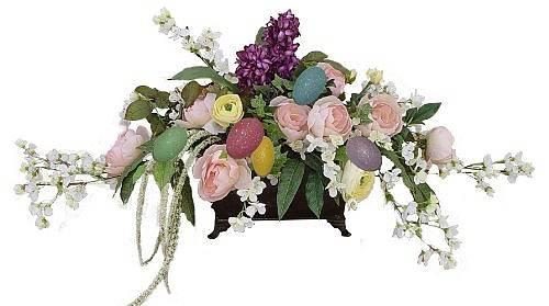 Easter Floral Fireplace Arrangement
