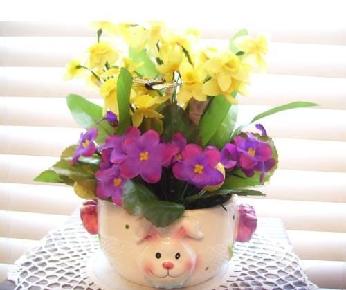 Spring Easter Bunny Dish Arrangement