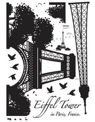 Eiffel Tower Silhouette Easy Instant Decoration Wall Sticker Decal