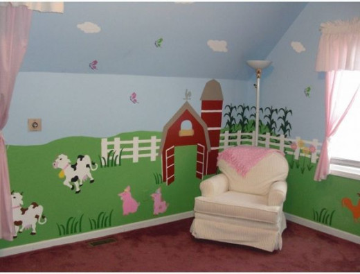 Farm Animal Wall Mural For Nursery Room