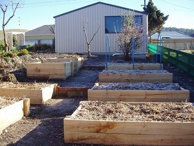 After a few days of hard labour our new raised beds are ready for spring. View from  bottom of slope