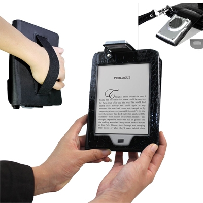 Poetic (TM) Lighted Kindle Touch Leather case with LED Light and HandStap