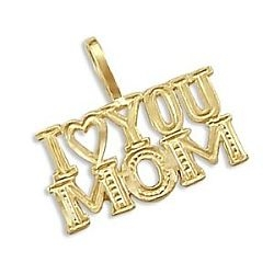 14k Yellow Gold I Love You Mom Mother Charm Pendant