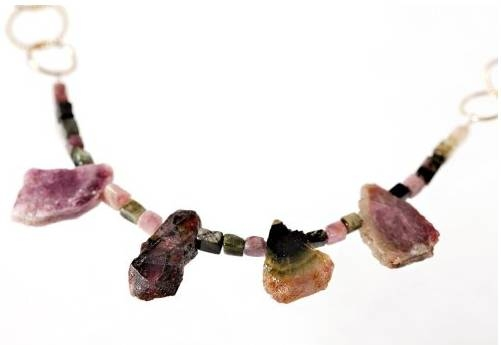 watermelon tourmaline gems necklace