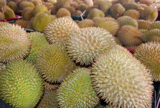 Tough and intimating outside, creamy and delicious inside. Heaps of durians to whet your appetite.
