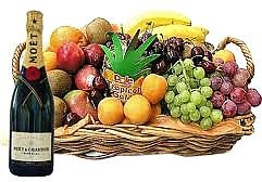 champagne fruit gift basket