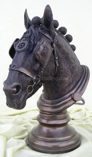 Shire Horse Bust Statue Figurine Bronze Color