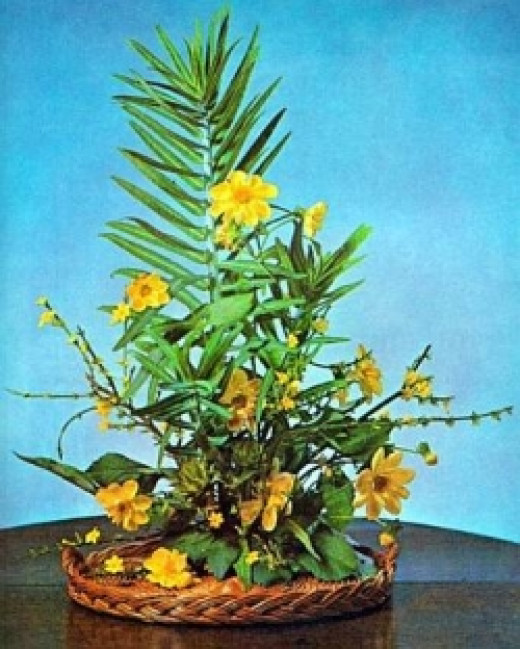 flower arranging with dahlias