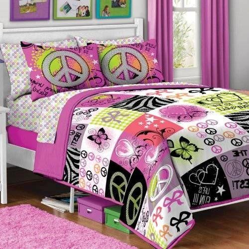 Girl Pink Yellow Purple Black Heart Love Peace Sign Butterfly Zebra Twin Comforter Set